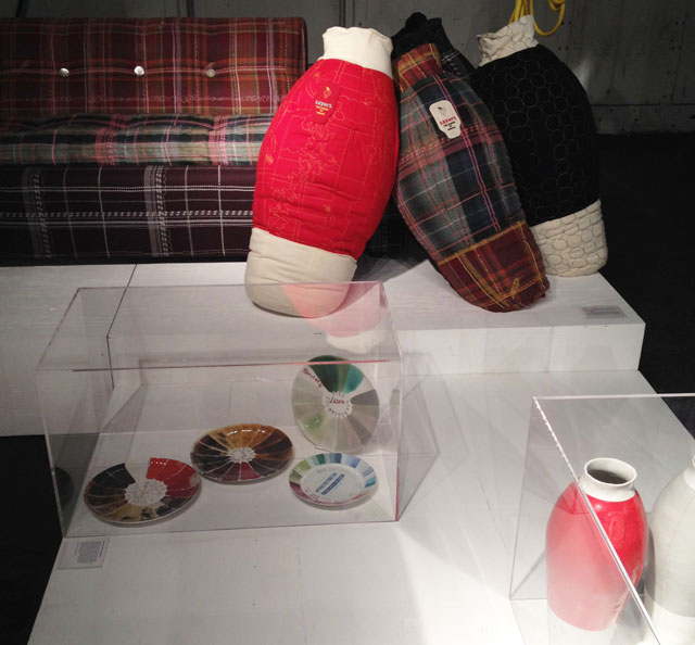 """Work by Hella Jongerius, including """"Quilted Vases"""" (2006), at the Collective 2 Design Fair (all photos by the author for Hyperallergic)"""