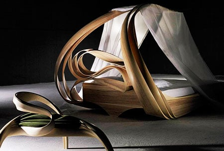 The Enignum Canopy Bed, The Enignum Free Form, Joseph Walsh Studio. Image courtesy of the artist studio/Todd Merrill Studio Contemporary/Collective Design Fair