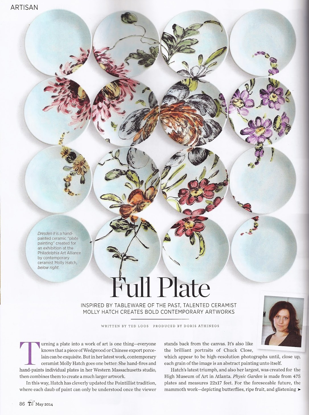 "Dresden II is a hand-painted ceramic ""plate painting"" created for an exhibition at the Philadelphia Art Alliance by contemporary ceramist Molly Hatch, below right."