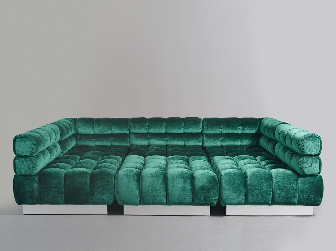 todd merrill custom originals double back tufted sectional  -