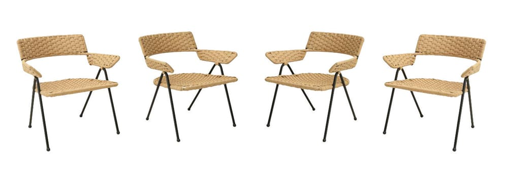 Three from a set of four woven-rope and wrought- iron chairs designed by Haines for the Beverly Hills estate of Irene Rich, 1950s.