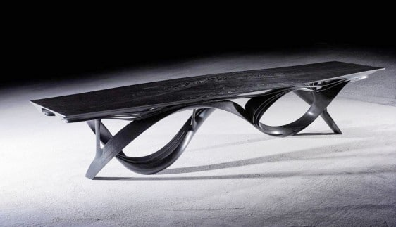 """Enignum XII"" Dining Table by Joseph Walsh IRE, 2013, Olive Ash with a black pigment finish."