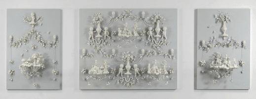 """Girls At War"", by Beth Katleman, USA, 2013, porcelain & wire mounted on painted wood panels."