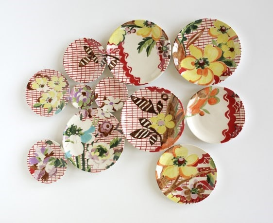 """Render: Lyon Silk"", by Molly Hatch, USA, 2011, 11 hand-thrown and hand-painted porcelain plates."