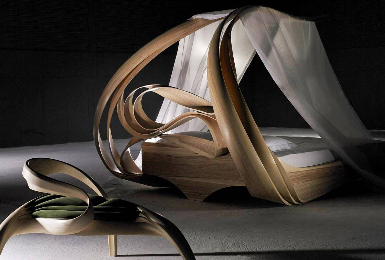 """Enignum"" Canopy Bed and Two-Seater by Joseph Walsh IRE, 2014. Olive Ash silk organza."