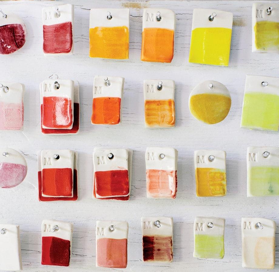 A set of glazed palette chips.