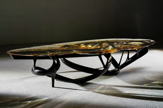 Joseph Walsh, Lumenoria II Dining Table, Ebonised Ash and Amber Resin, 2014