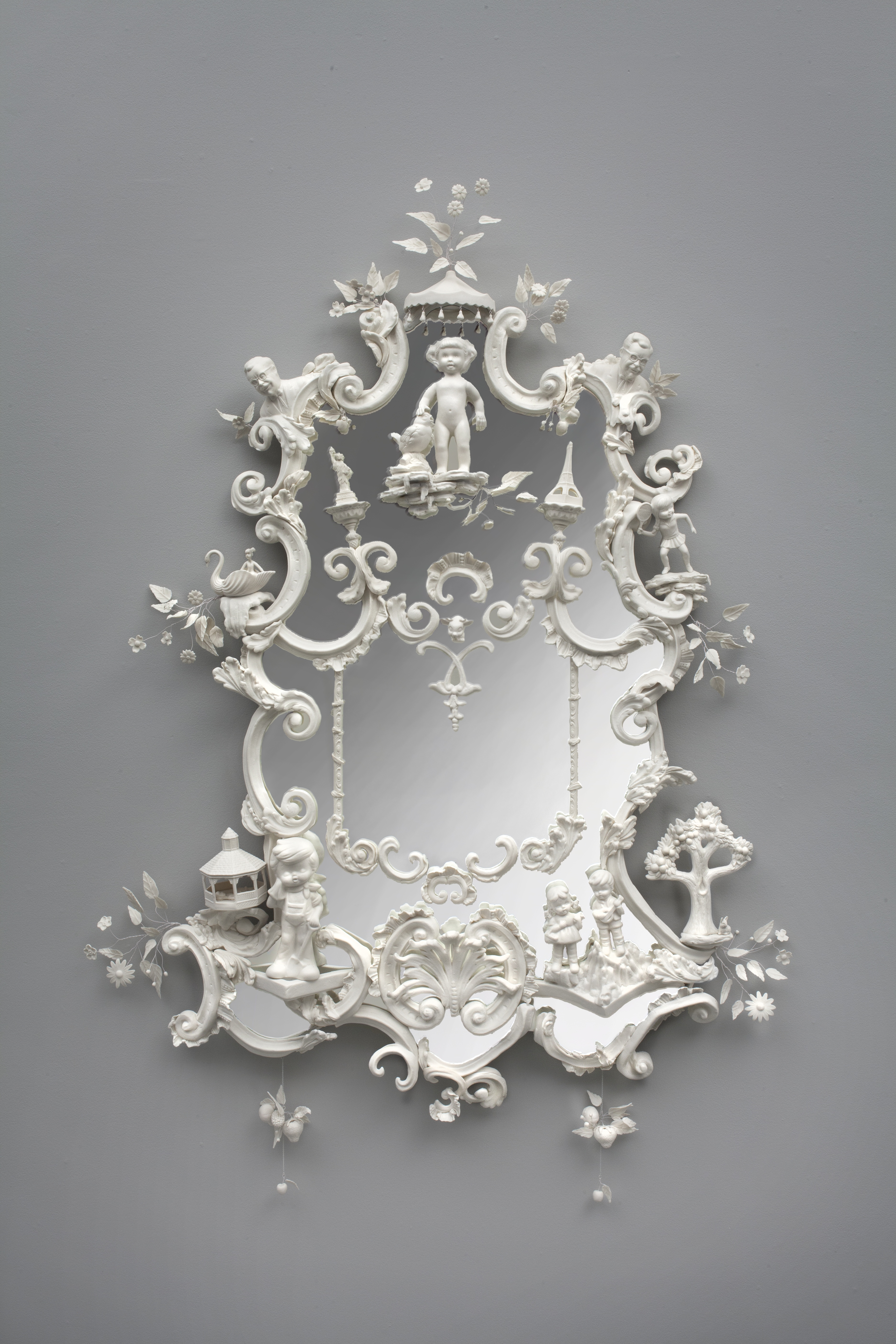 Beth Katleman, Hotel Mirana, USA, 2014. Porcelain and Mirror, 48'' x 30'' x 5''
