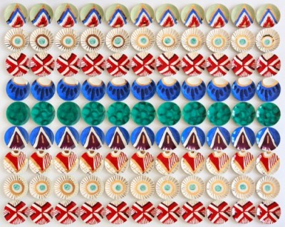 "Molly Hatch, Worcester Imari, USA, 2014, Italian Earthenware plates, Glaze, 11K Gold, 90"" x 110"" x 1.5"""
