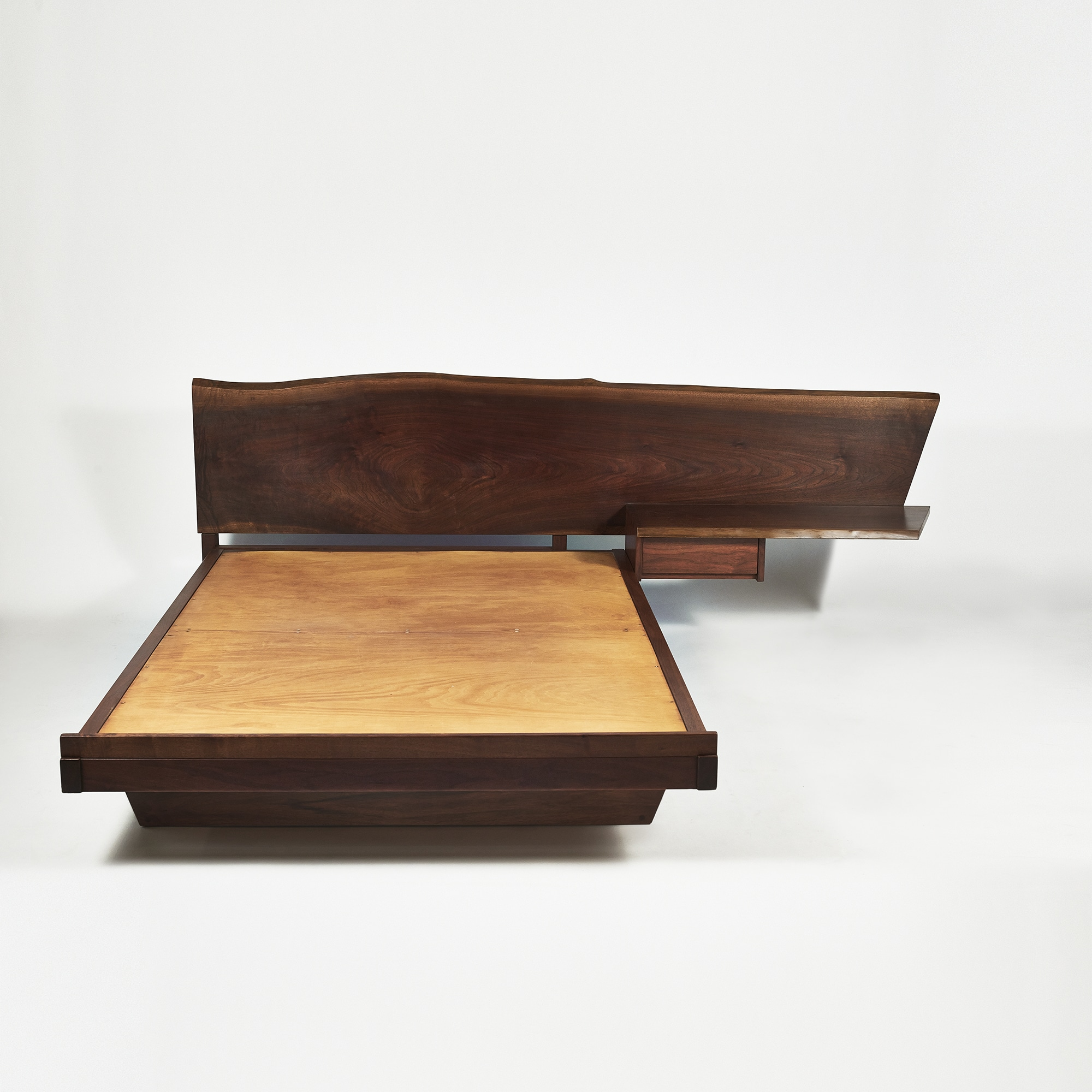 George nakashima platform bed with cantilevered slab headboard and side table usa 1957 todd - Plywood for platform bed ...