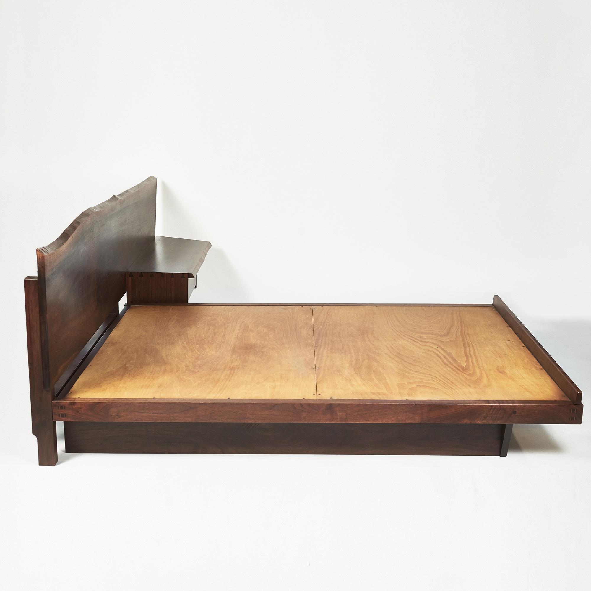 George Nakashima Platform Bed with Cantilevered Slab Headboard