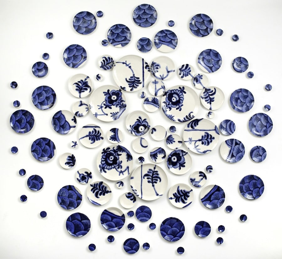 Deconstructed Lace: After Royal Copenhagen, USA, 2014. 93 hand-thrown and hand-painted porcelain plates with glaze and underglaze.