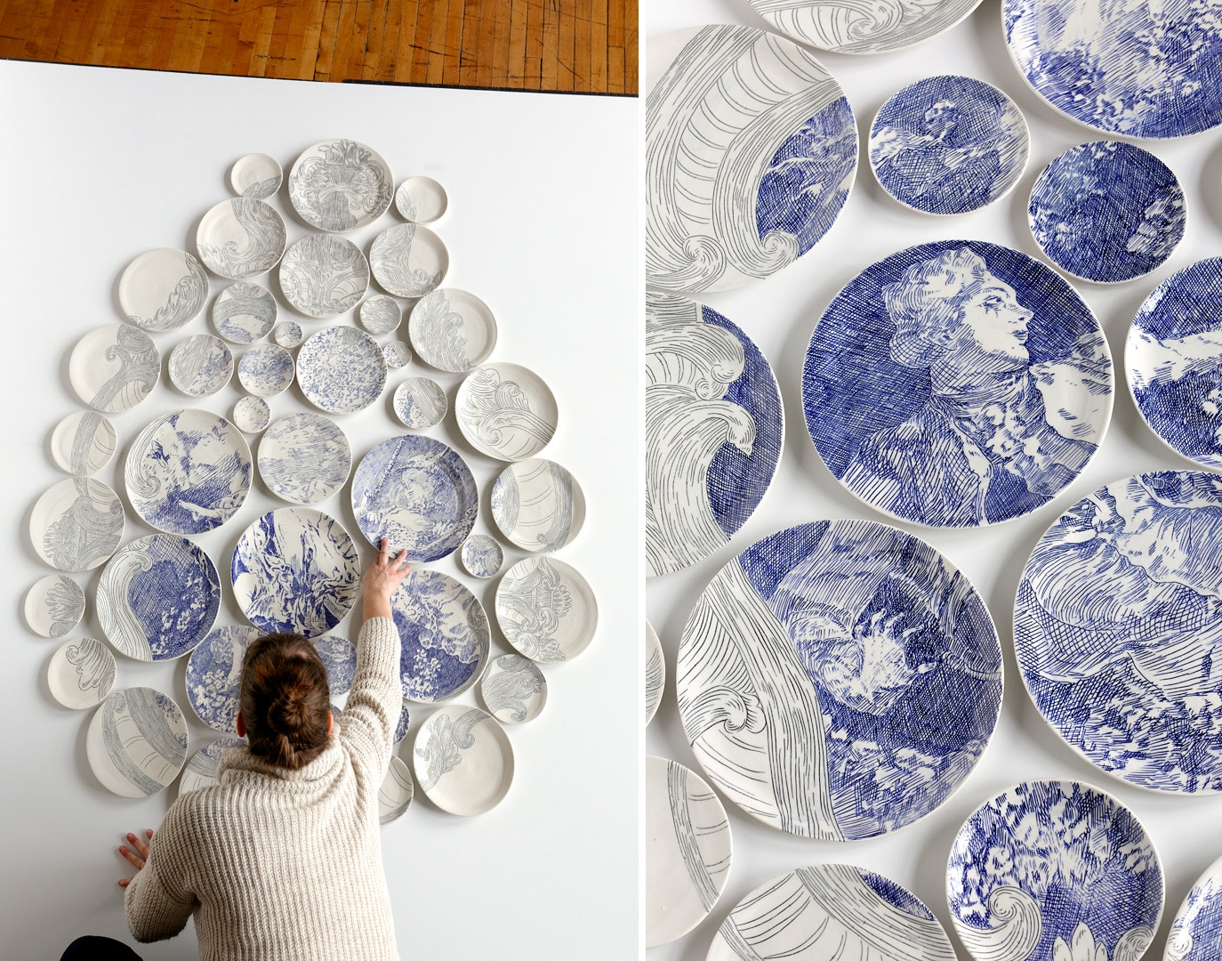 Quand on Aime Tout est Plaisir After Fragonard USA 2013 : ceramic painted plates - pezcame.com
