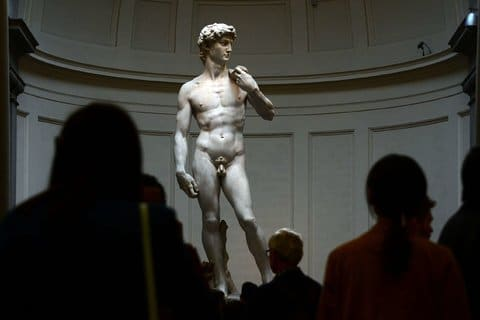 """Michelangelo's """"David"""" has been on display at Florence's Accademia Gallery since 1873.Credit Gabriel Bouys/Agence France-Presse — Getty Images"""