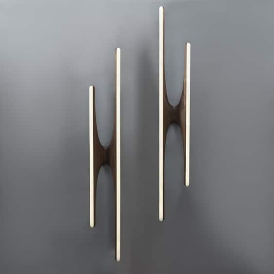 Markus Haase Pair of Walnut and Onyx Sculptural Sconces, USA, 2015 Todd Merrill Studio