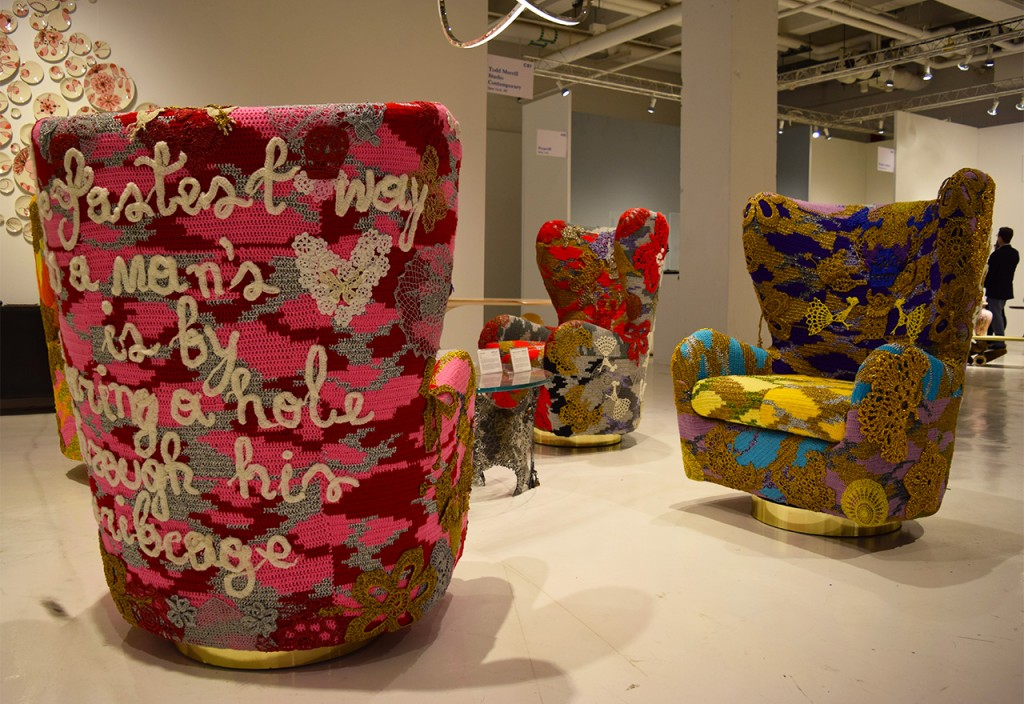"""Olek and Todd Merrill Custom Originals, """"Swivel Thrones: #You, #Ribcage, #Regret, #Risk"""" (2015) in the Todd Merrill Studio Contemporary booth at Collective Design"""