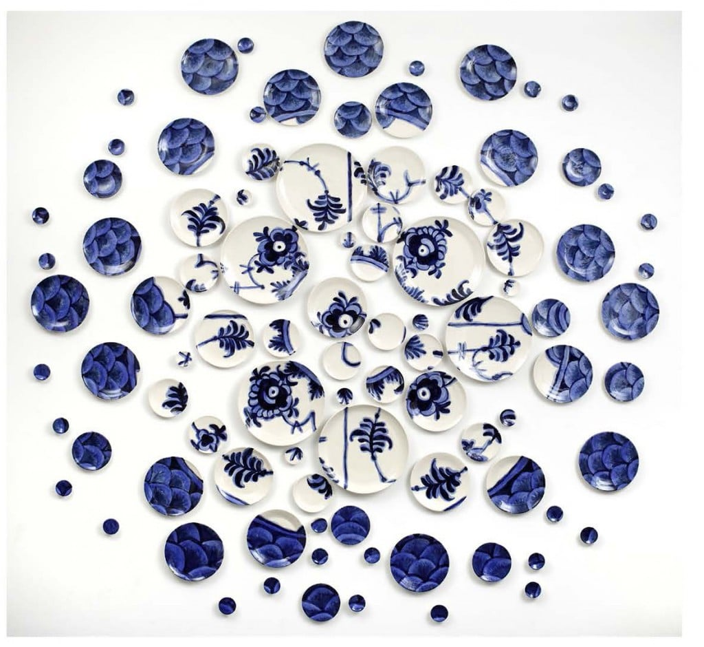 Molly Hatch, Deconstructed Lace: After Royal Copenhagen, 2015, 93 Hand-thrown and hand-painted porcelain plates, 99 x 96 x 1.5 inches / 150 x 245 x 4 cm