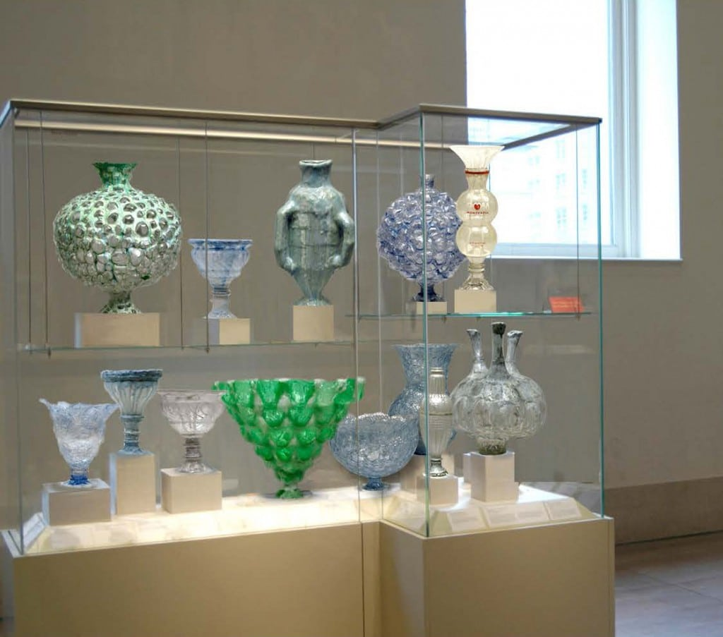 "Shari Mendelson, My Metropolitan: ""In this digital collage, I replaced the art in a Greek and Roman gallery at the Metropolitan with vessels made from discarded plastic bottles."""