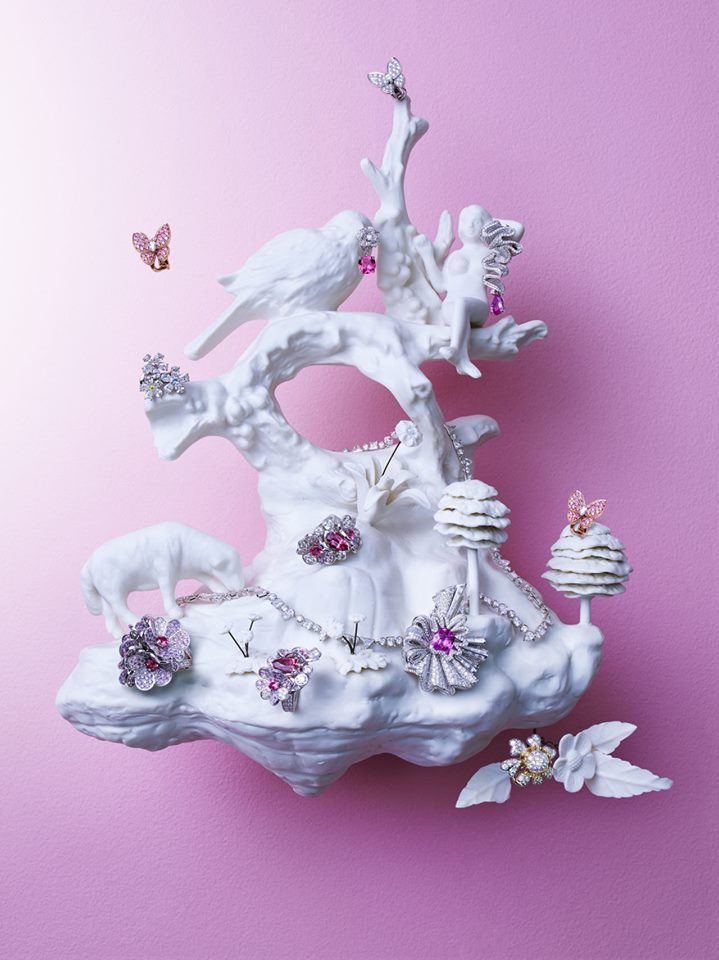 "Harper's Bazaar features Beth Katleman's opulent and whimsical 3D porcelain art installations, ""Folly"" and ""Sailor Boy and Nymph"", in their September Issue Fall Jewelry Spread, ""Off The Walls""!"