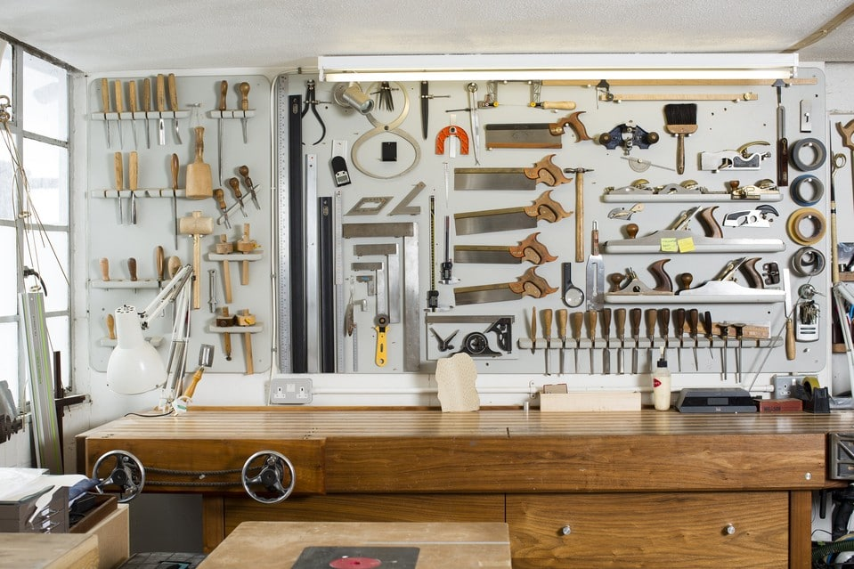 A selection of woodworking tools in Marc Fish's studio.