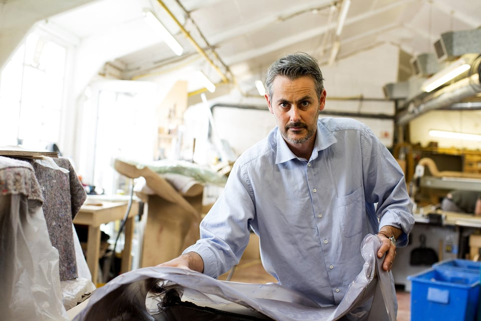 Furniture designer Marc Fish in his studio in Newhaven, East Sussex.