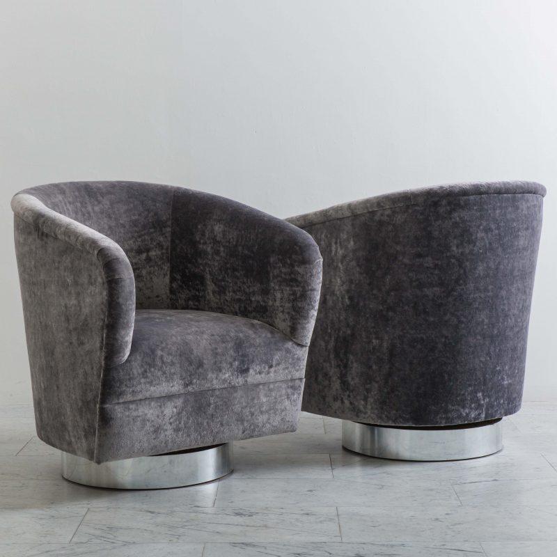 Attrayant Milo Baughman, Pair Of Grey Velvet Narrow Swivel Chairs, USA, 1970s   Todd  Merrill Studio