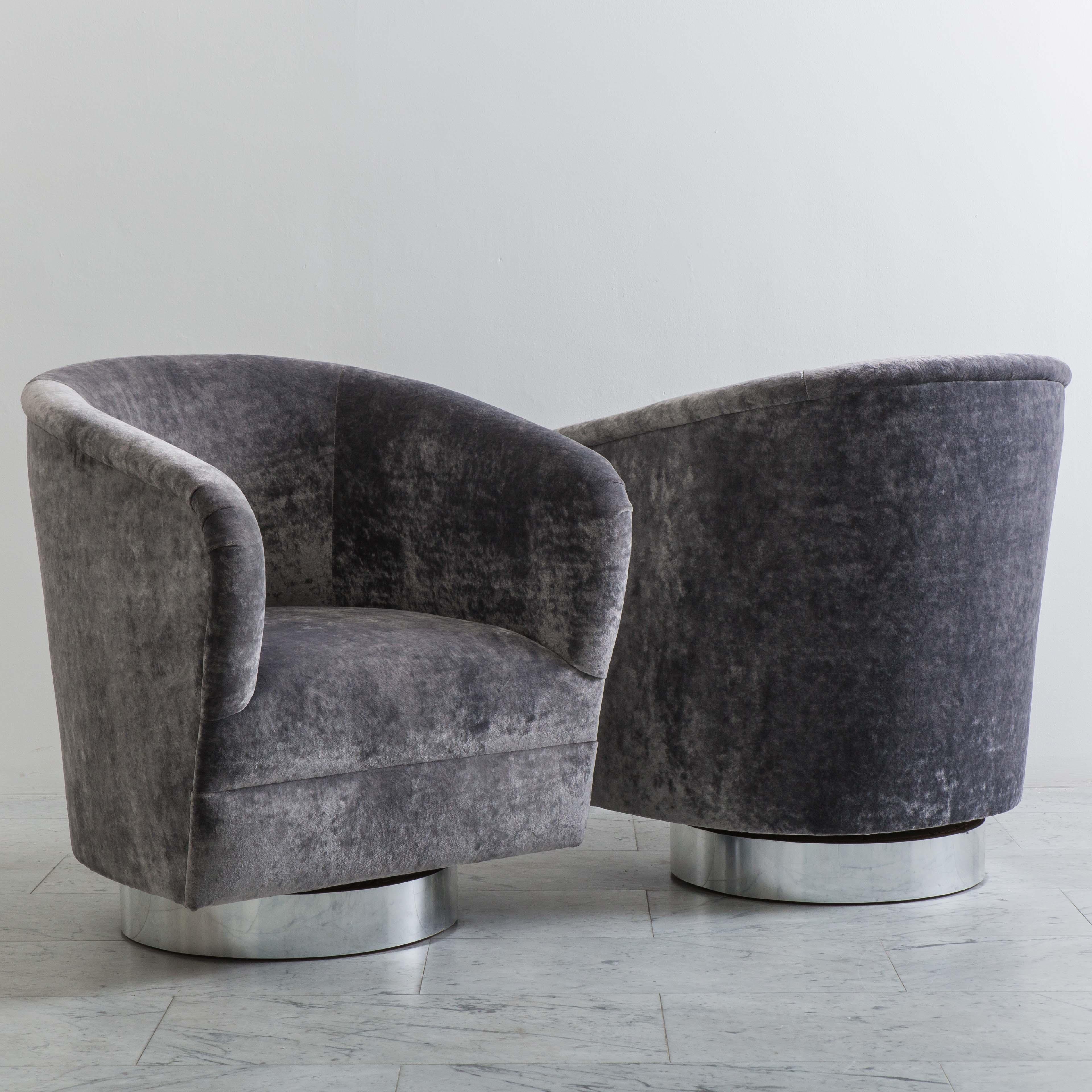 Milo Baughman, Pair Of Grey Velvet Narrow Swivel Chairs ...