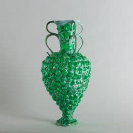 Green Vessel With 3 Double Handles