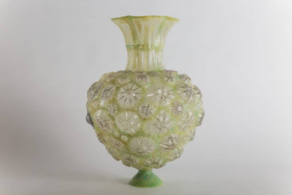 Yellow Green Heart Shaped Vessel