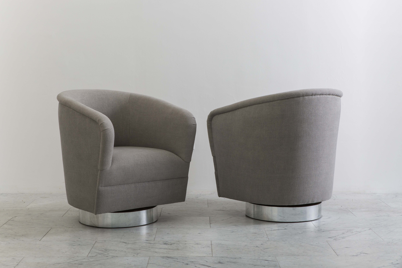 Milo Baughman Pair Of Grey Linen Narrow Swivel Chairs Usa