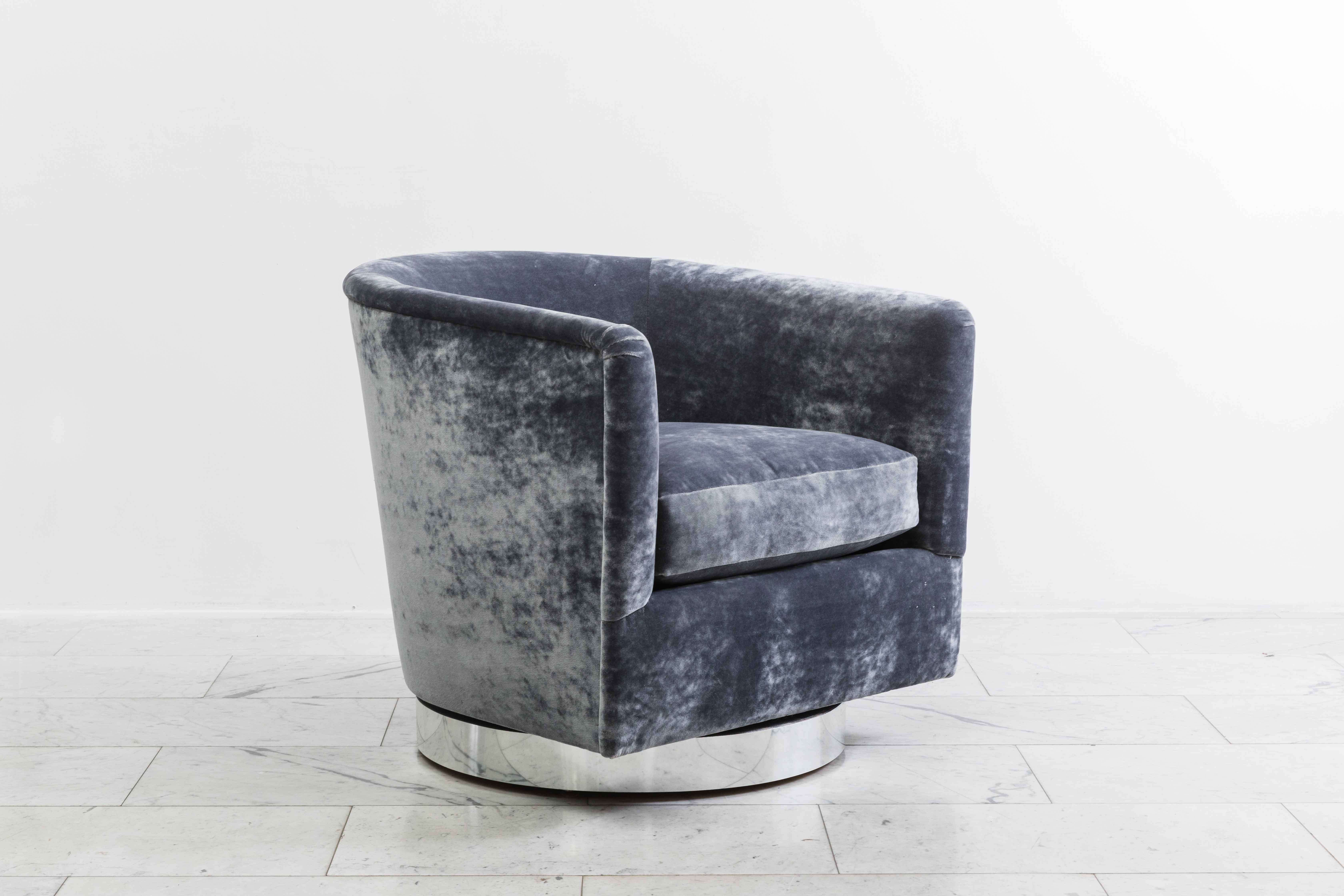 milo baughman pair of dark grey swivel chairs usa 1970s todd