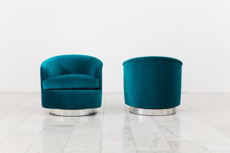 Fabulous Milo Baughman Pair Of Dark Teal Swivel Chairs Usa 1970S Unemploymentrelief Wooden Chair Designs For Living Room Unemploymentrelieforg