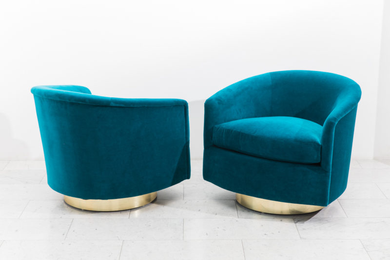 Phenomenal Milo Baughman Pair Of Dark Teal Swivel Chairs With Gold Unemploymentrelief Wooden Chair Designs For Living Room Unemploymentrelieforg