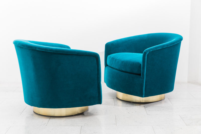 Peachy Milo Baughman Pair Of Dark Teal Swivel Chairs With Gold Unemploymentrelief Wooden Chair Designs For Living Room Unemploymentrelieforg