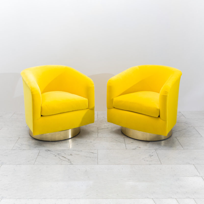 Pleasing Milo Baughman Pair Of Yellow Swivel Chairs Usa 1970S Creativecarmelina Interior Chair Design Creativecarmelinacom